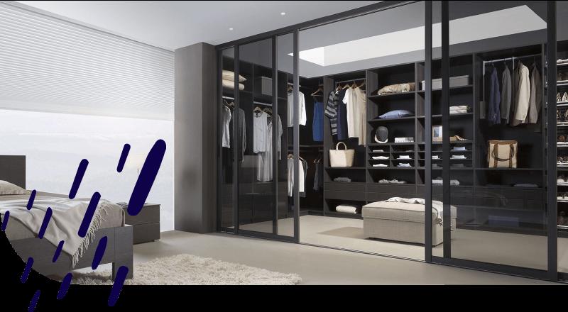 Begehbarer Kleiderschrank und Schranksystem